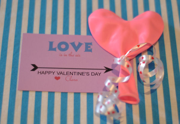 Valentine Card-Love is in the air balloon