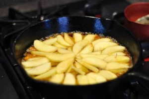 Add apples to butter and sugar