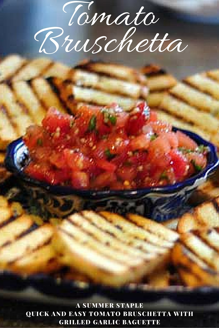 tomato garlic bruschetta with grilled garlic baguette