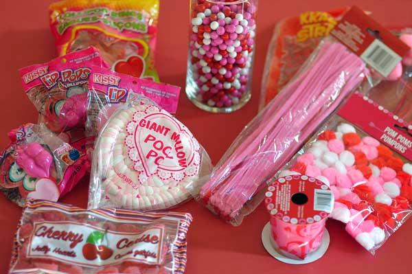 Valentine dollar store candy